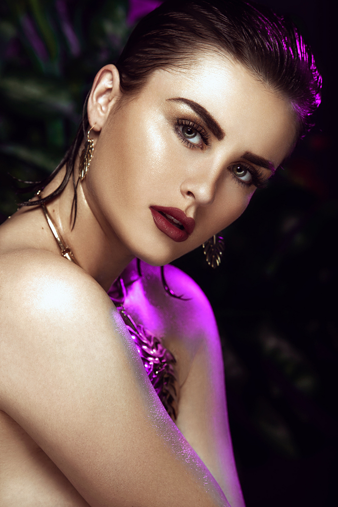 Beauty Portrait with Colored Light